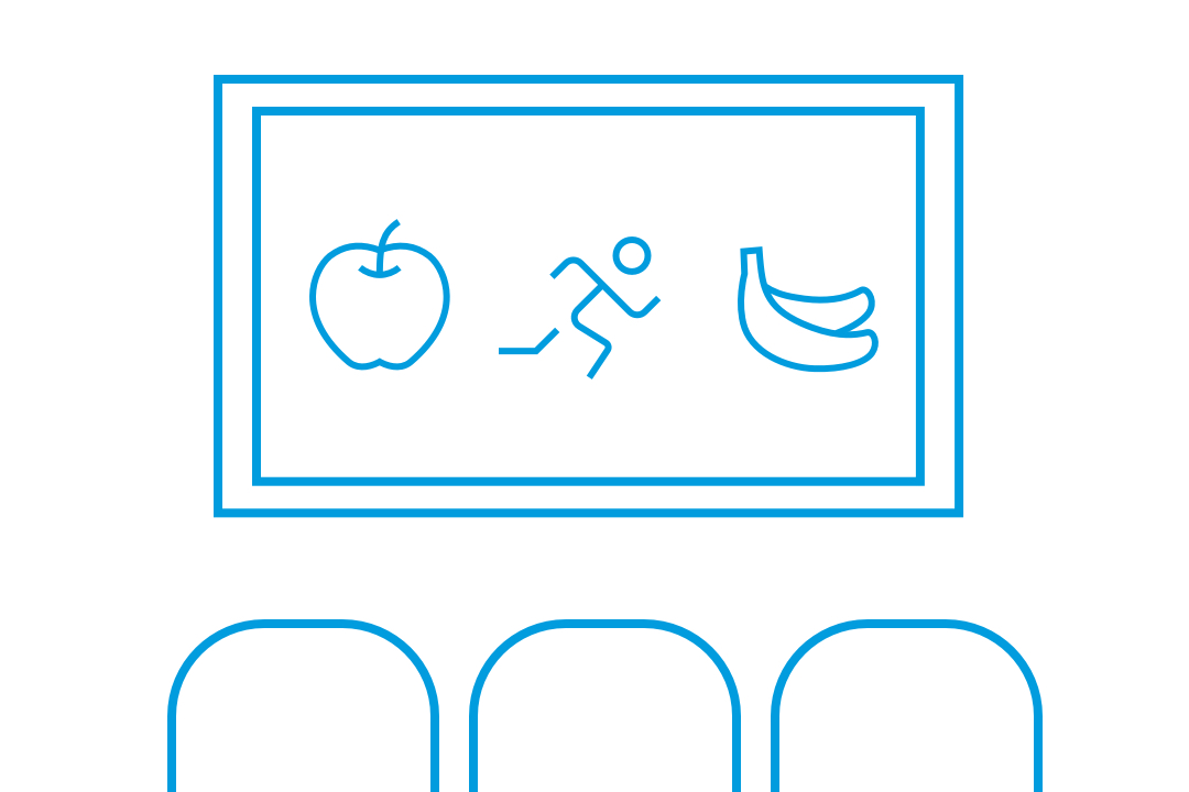Computer Screen with Fruit and Running Man