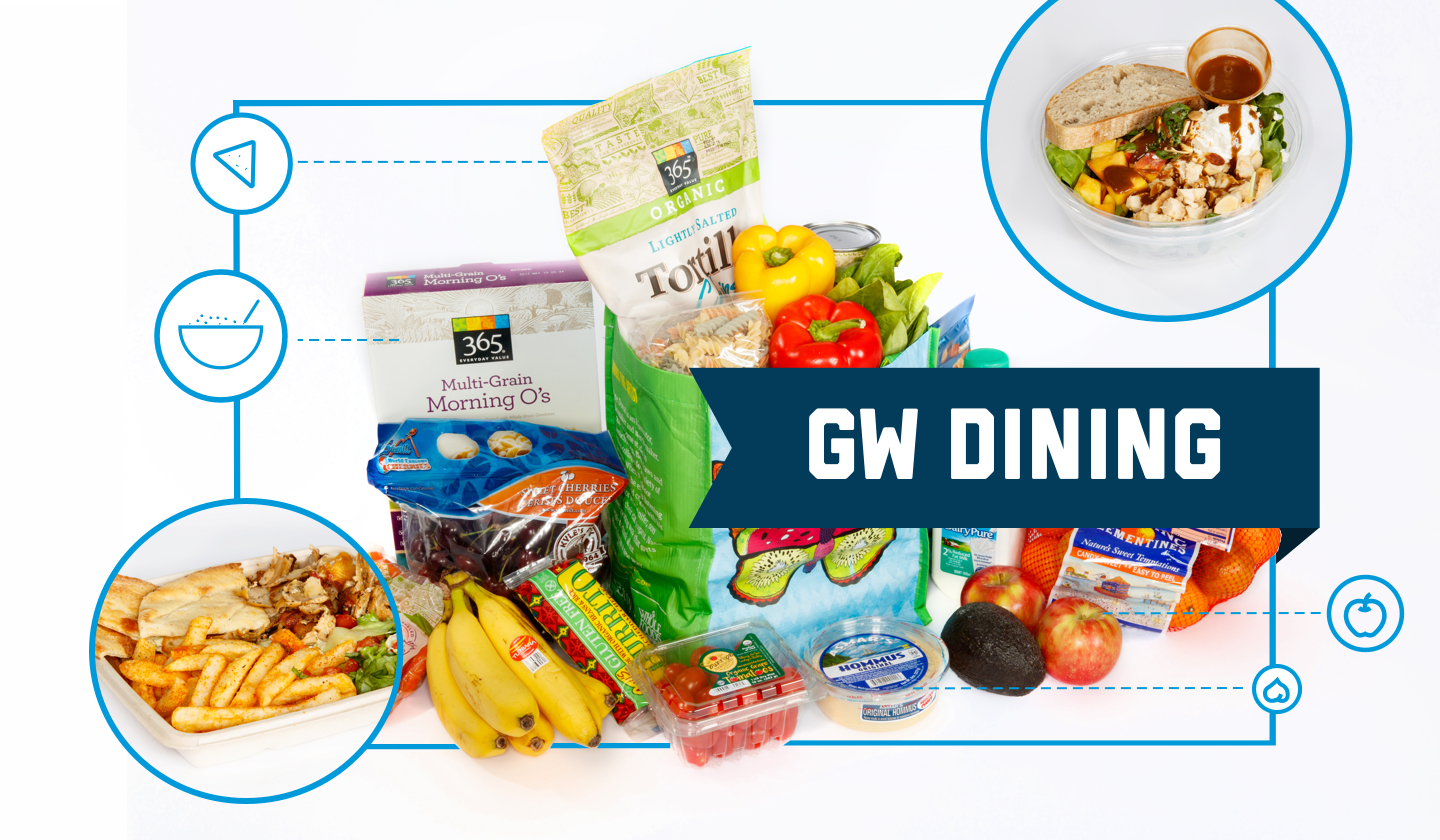 GW Dining: Salad, grocery bag with pasta, veggies and fruit, plate with pita, fries, chicken and veggies